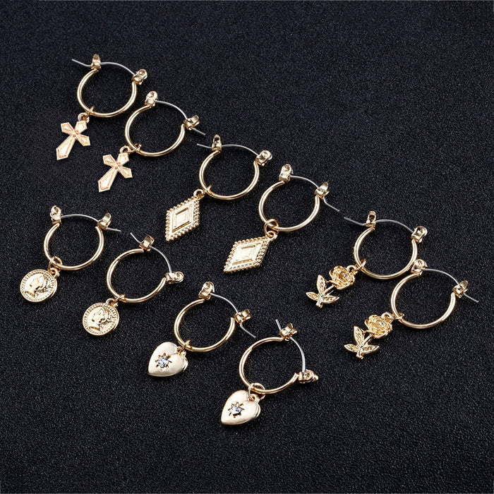 5pairs/set Gold/Silver Hoop Earrings