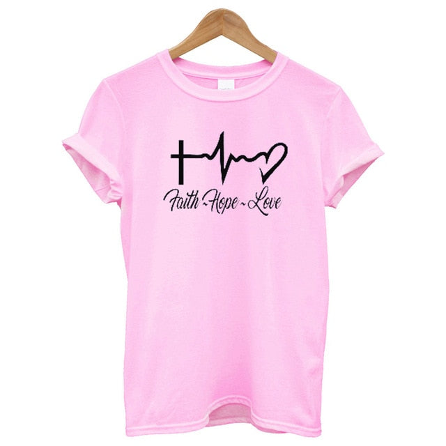 """Faith Hope Love"" Christian T Shirt"