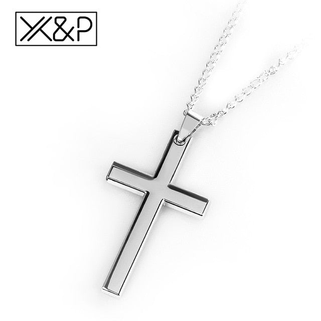 Simple Gold/Silver/Black Christian Cross Necklace