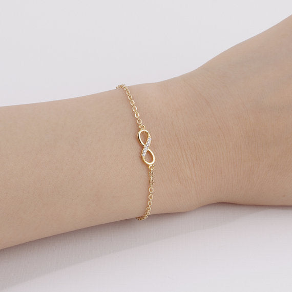 Infinity Bracelet with Crystal Stones