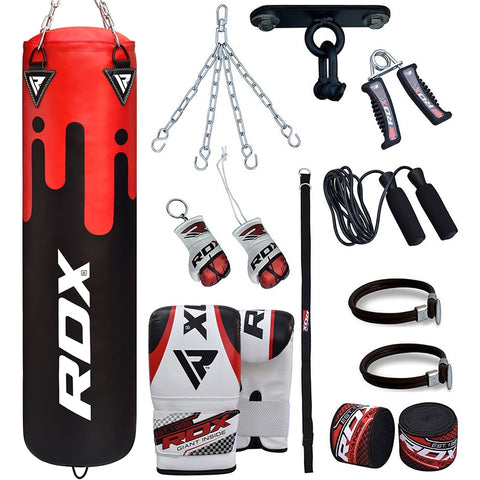 RDX F9 13PC Punch Bag with Bag Mitts Filled 4 ft