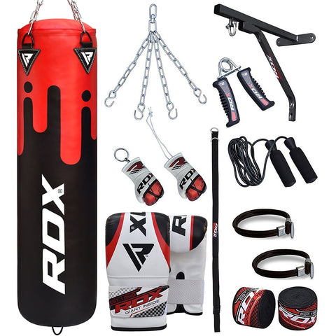 RDX F9 17PC Punch Bag with Bag Mitts Filled 4 ft
