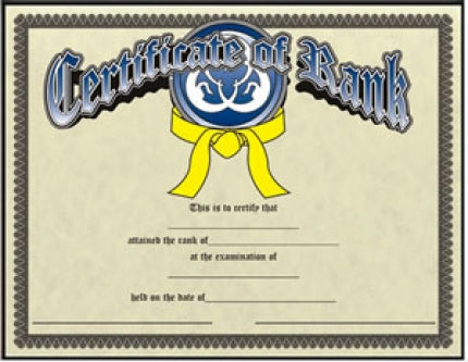 Century Certificate of Belt Rank - Pack 10