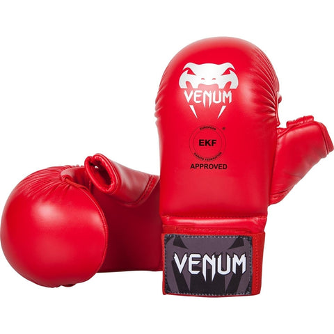 Venum WKF Approved Karate Mitts With Thumb Red