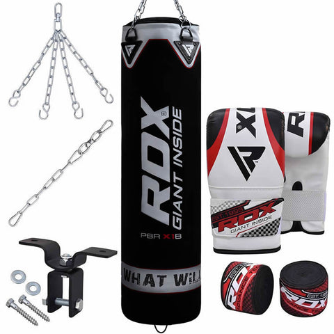 RDX X1 8pc Punch Bag & Boxing Set Filled 4 ft
