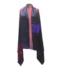 Load image into Gallery viewer, FIERY FOLDED RED SILK SATIN CAPE-SCARF