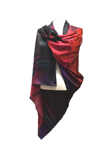 FIERY FOLDED RED SILK SATIN CAPE-SCARF