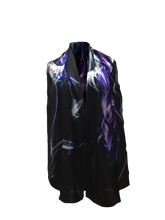 Load image into Gallery viewer, LINE IN SPACE SILK SATIN SCARF