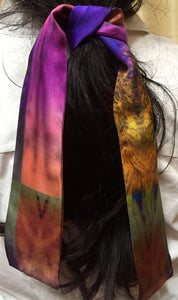 Hair Tie Iris Silk Neckie scarf Willow and Wyrd