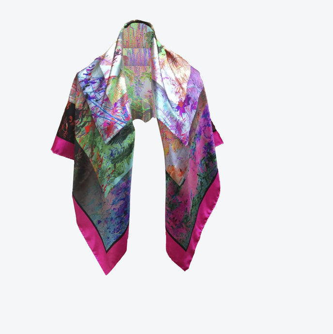 ALICE BEYOND NATURE'S LOOKING GLASS SILK SCARF
