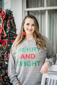 MERRY AND BRIGHT LONG SLEEVE ADULT TEE
