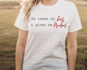 Fear for Freedom //Women's Christian Graphic Tee, Christian Shirts, Grace, Positivity, Cross, Faith TShirts, Faith Over Fear