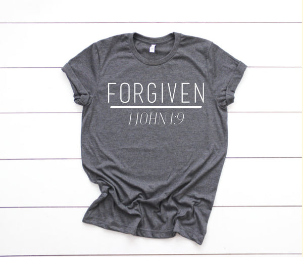SALE Forgiven Shirt // Women's Christian Graphic Tee, Christian Shirts, Christian T shirts, Cross, Faith TShirts, Proverbs