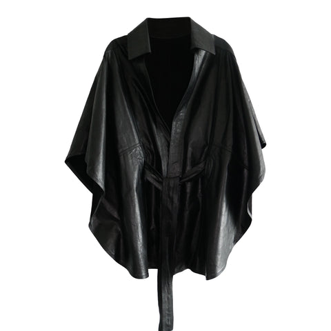 Leather cape with tie