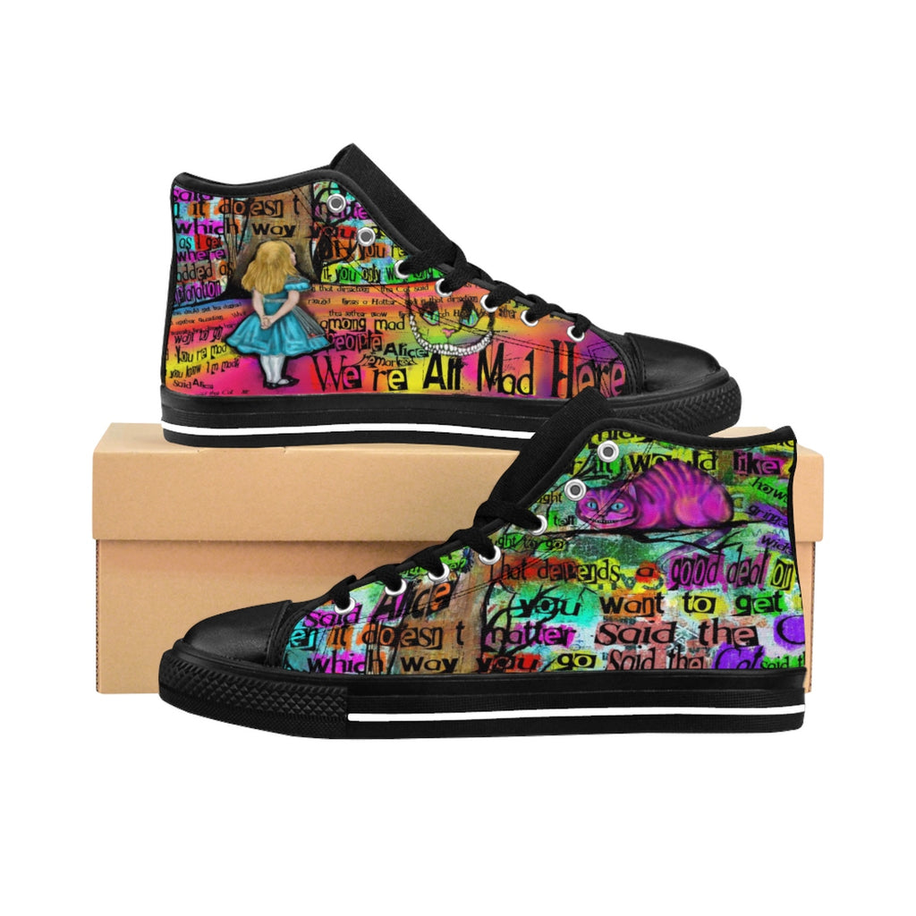 "Cheshire Cat ""Mad"" Men's Sneakers-Starry Meadows"