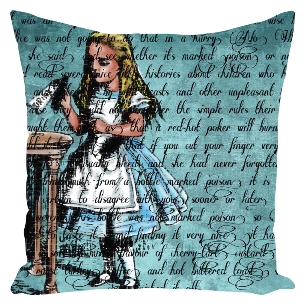 "Alice ""Drink Me"" Throw Pillow-Starry Meadows"