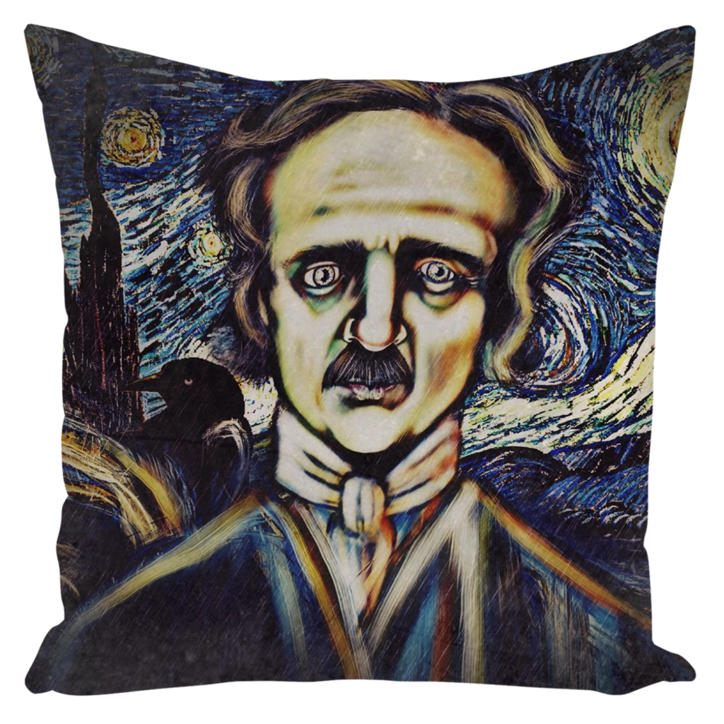 Edgar Allan Poe Throw Pillow-Starry Meadows