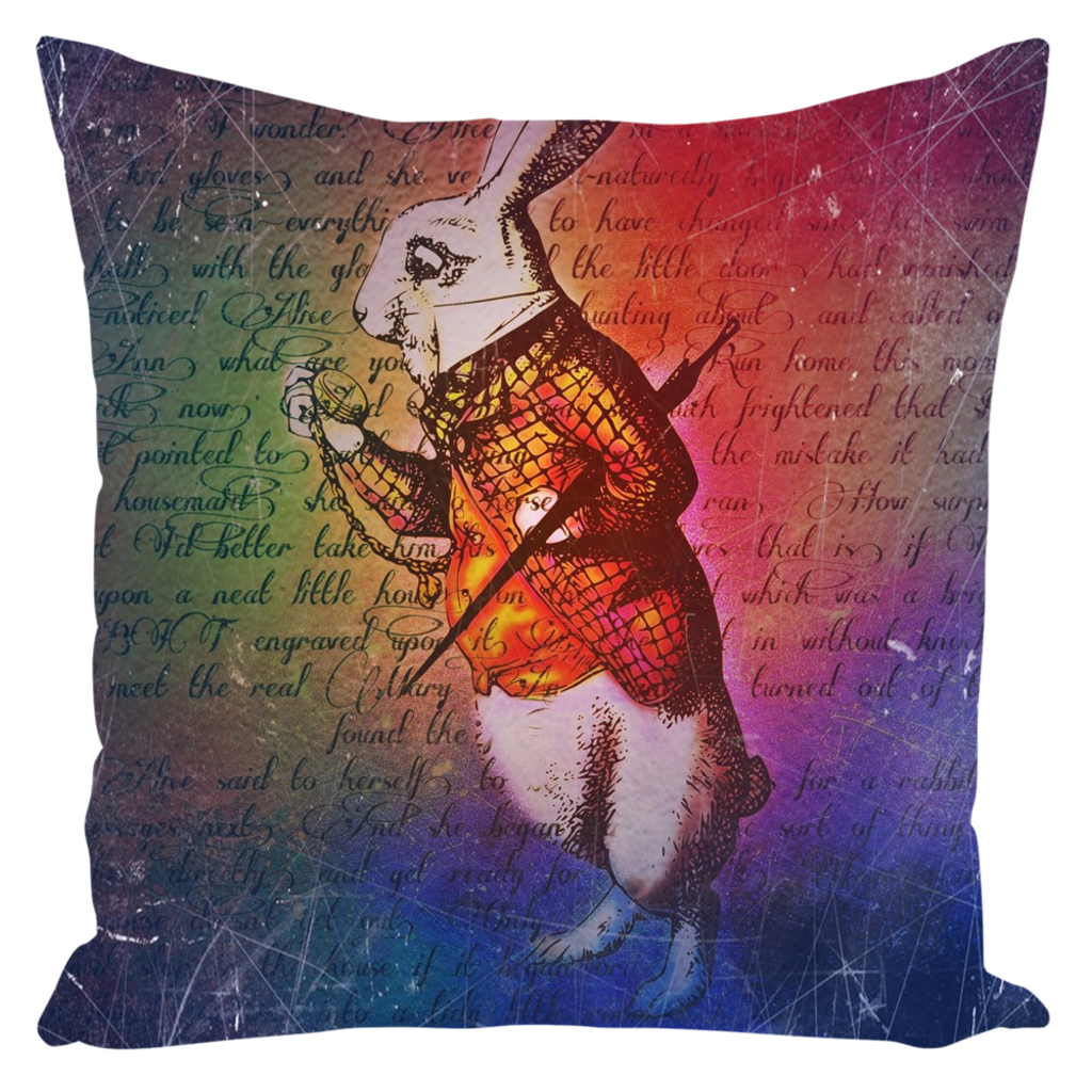 White Rabbit Throw Pillow-Starry Meadows