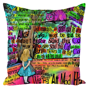 "Cheshire Cat ""Mad"" Throw Pillows-Starry Meadows"