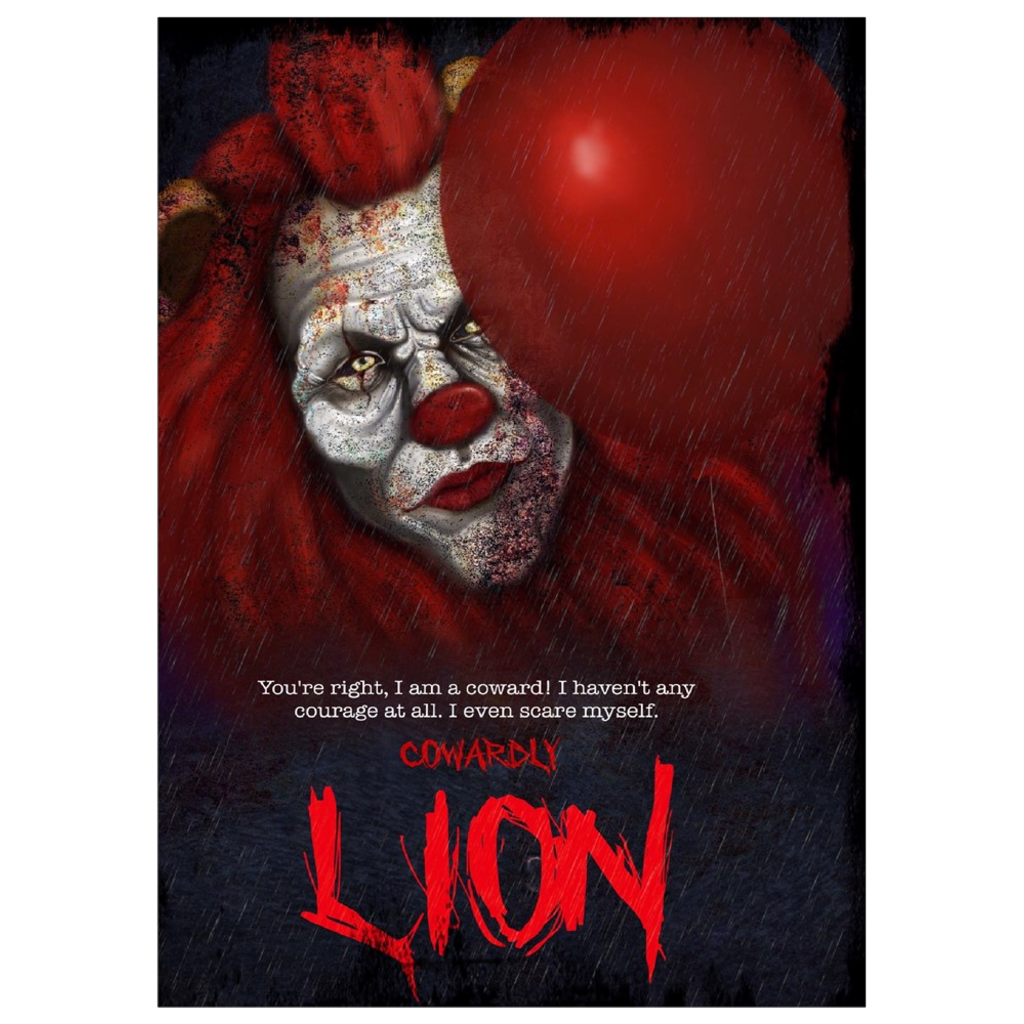 Cowardly Lion Horror Art Print