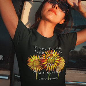 Gleams of Sunshine Charlotte Brontë Quote Unisex T-Shirt-Starry Meadows