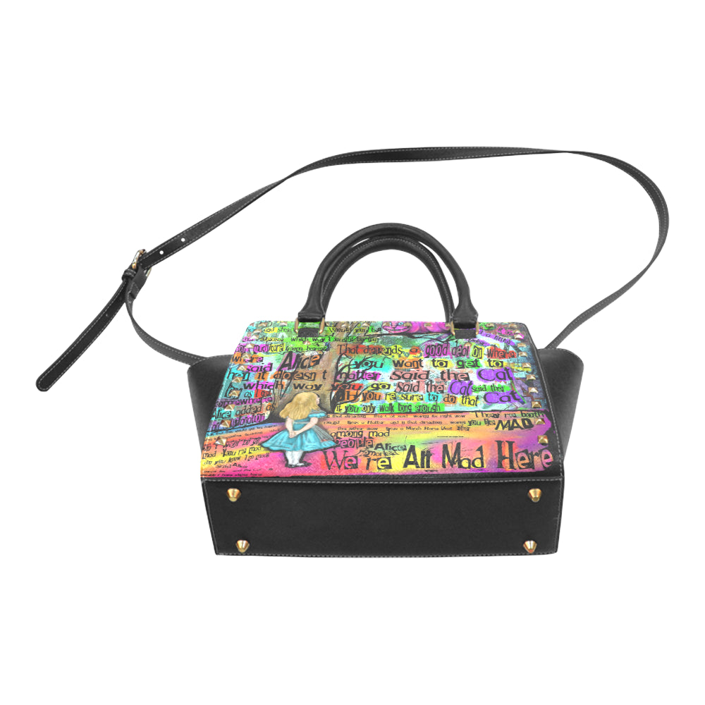 "Cheshire Cat ""Mad"" Studded Handbag-Starry Meadows"