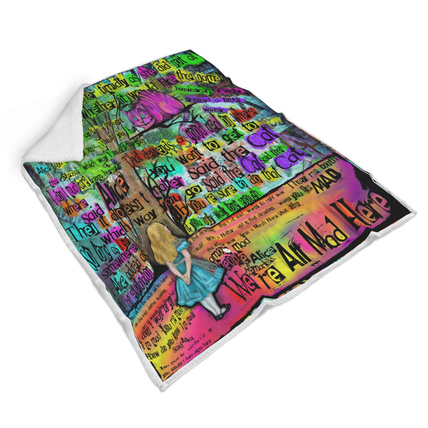 "Cheshire Cat ""Mad"" Sherpa Blanket-Starry Meadows"