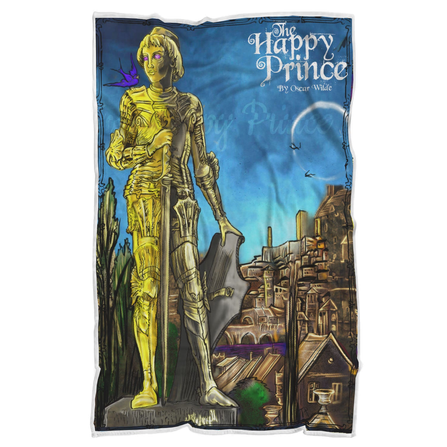 Oscar Wilde's The Happy Prince Sherpa Blanket-Starry Meadows