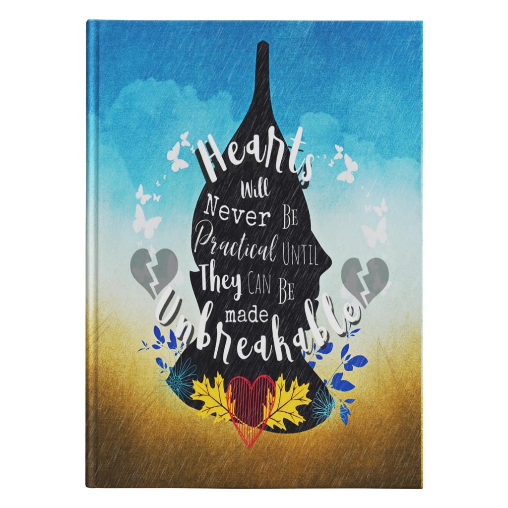 Tin Man Hearts Quote Hardcover Journal-Starry Meadows