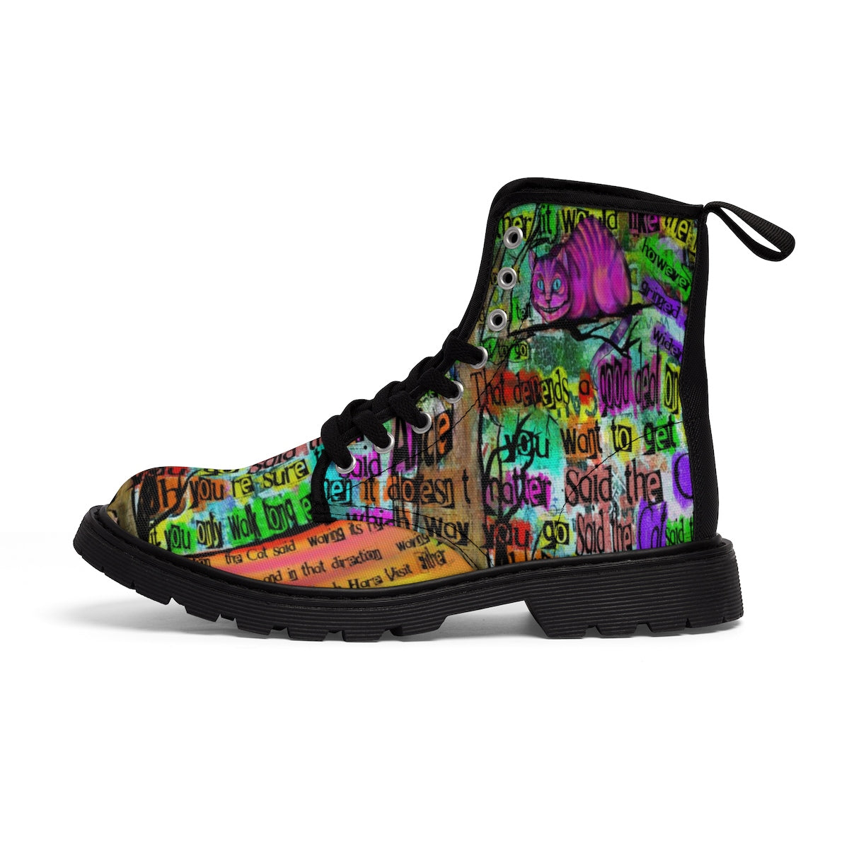 "Cheshire Cat ""Mad"" Women's Canvas Boots-Starry Meadows"