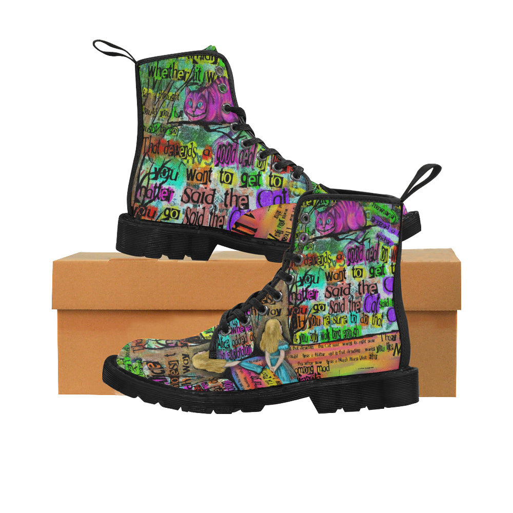 "Cheshire Cat ""Mad"" Men's Canvas Boots-Starry Meadows"