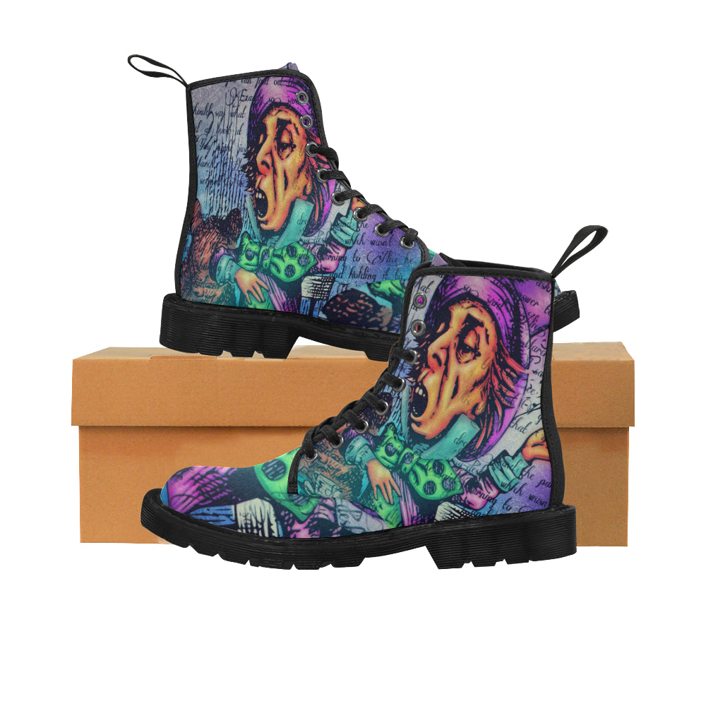 Mad Hatter Men's Canvas Boots-Starry Meadows