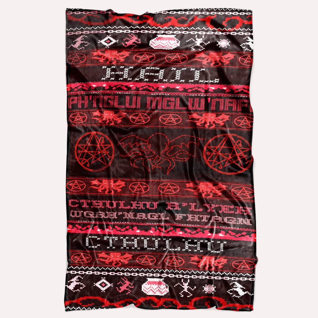 Ugly Christmas Sweater Cthulhu Throw Blanket
