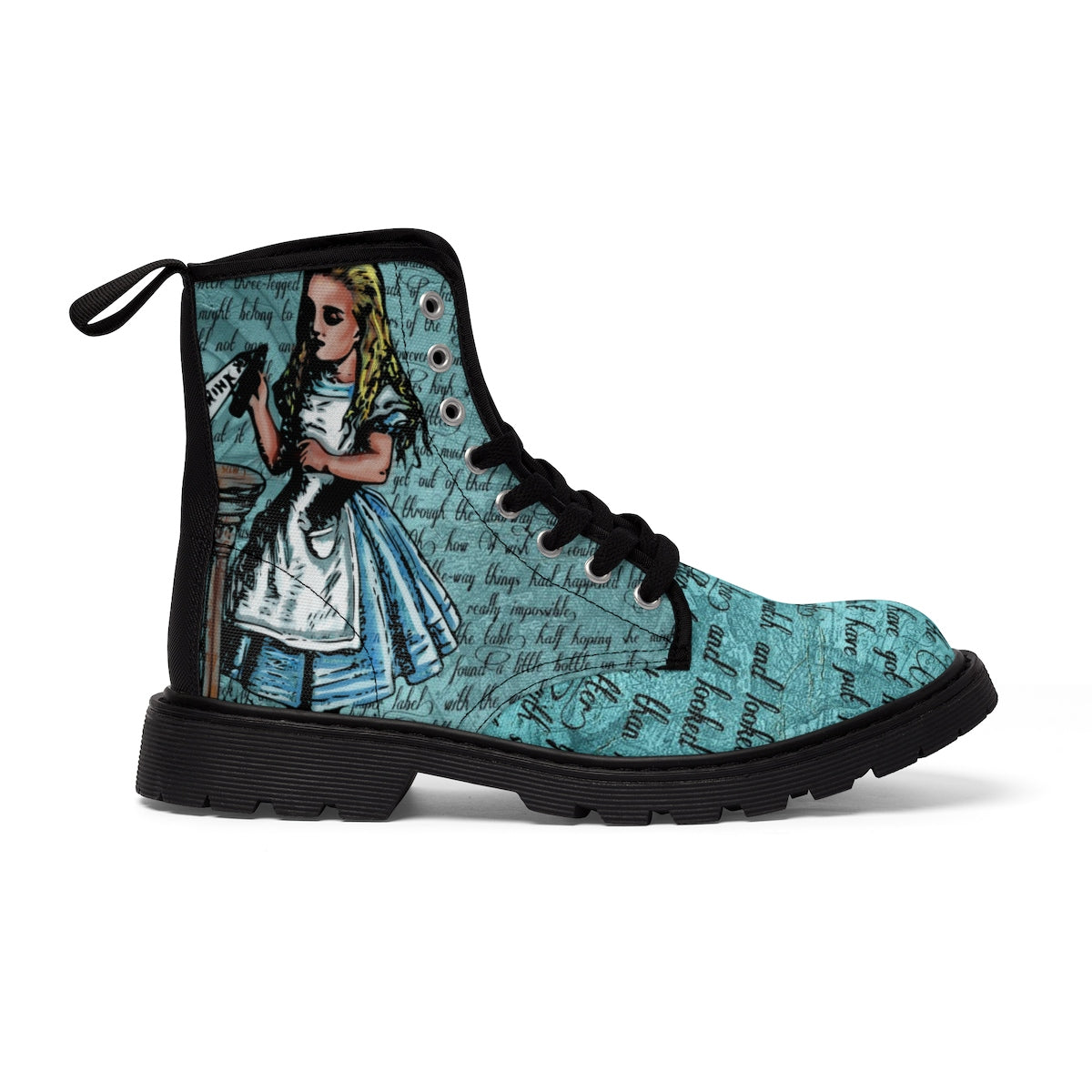 Alice in Wonderland Drink Me Women's Canvas Boots-Starry Meadows