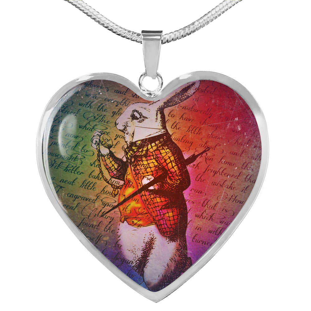 White Rabbit Heart Pendant