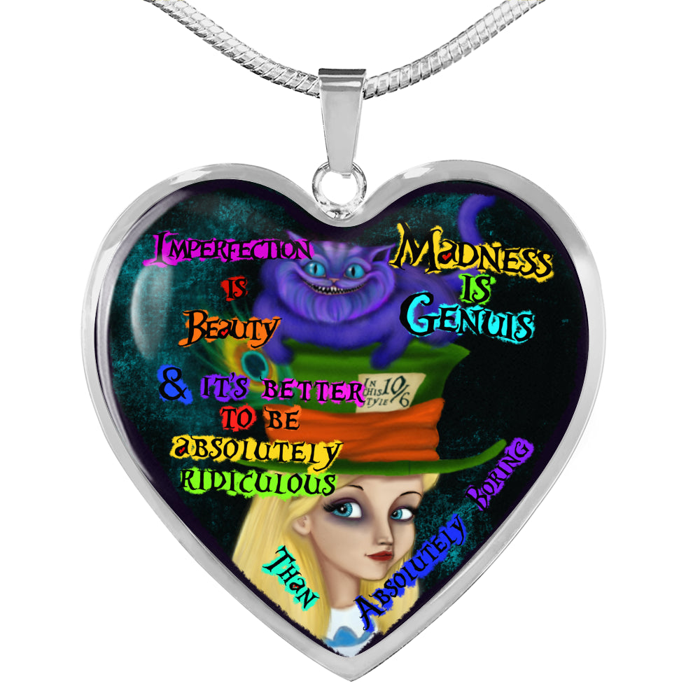 Madness Is Genius Alice Heart Pendant