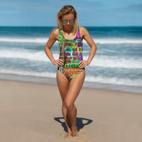 "Cheshire Cat ""Mad"" One-Piece Swimsuit-Starry Meadows"