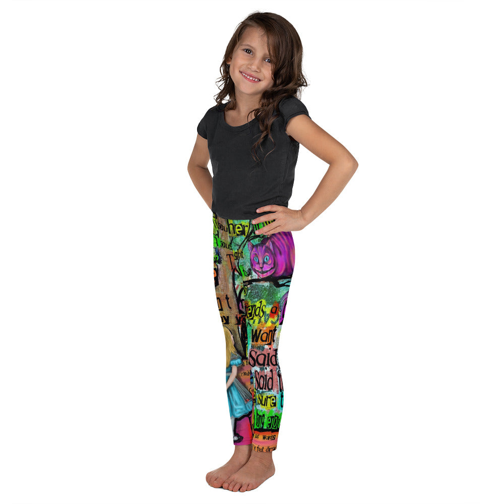 "Cheshire Cat ""Mad"" Kid's Leggings-Starry Meadows"