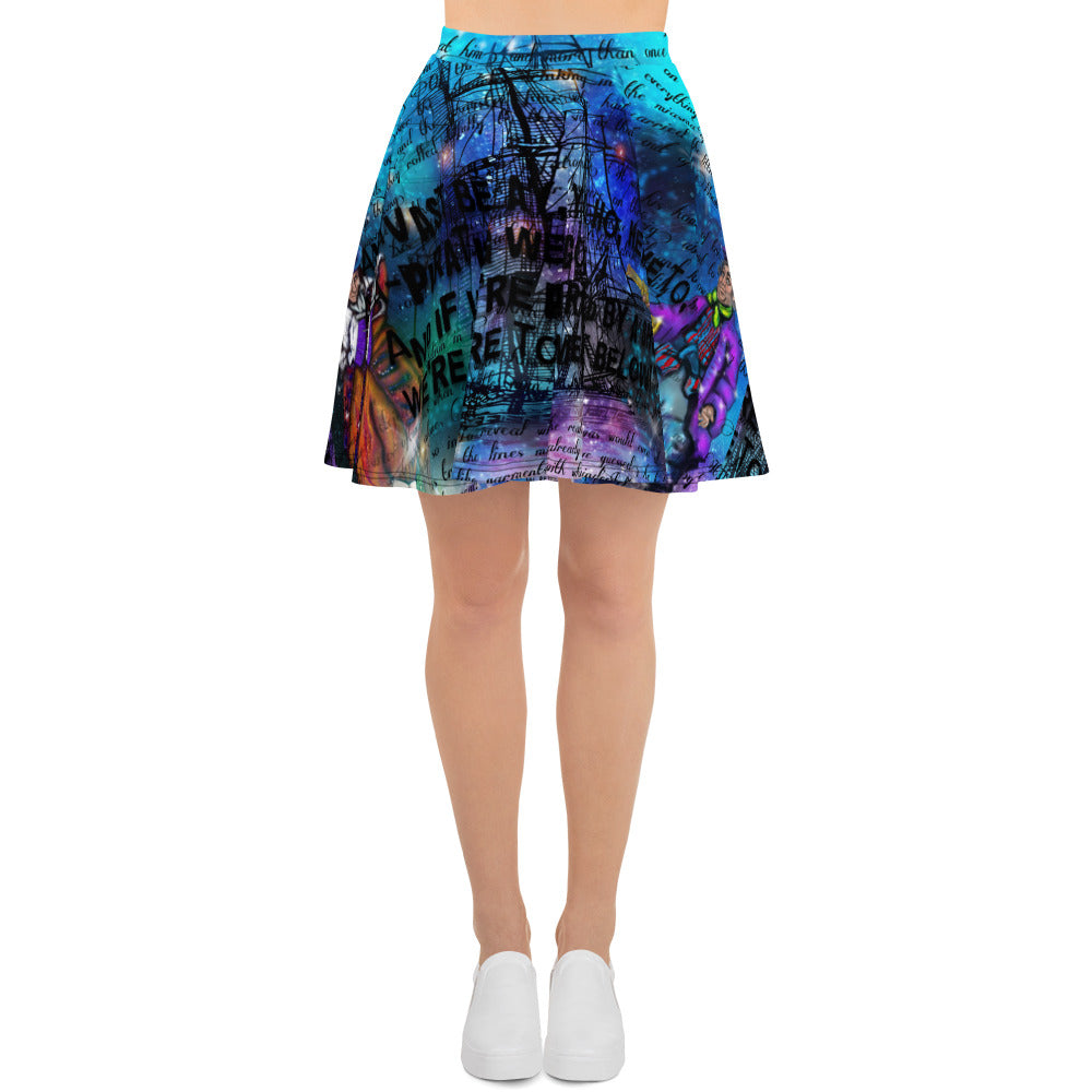 Captain Hook & Smee Skater Skirt-Starry Meadows