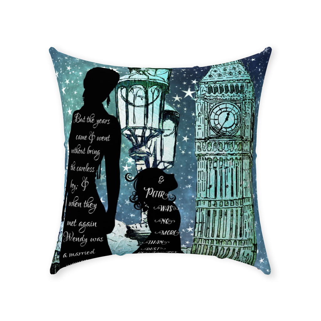 Wendy Grew Up Throw Pillow-Starry Meadows