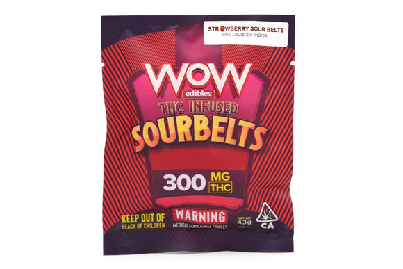 WOW Sour Belts - Strawberry Indica 300mg