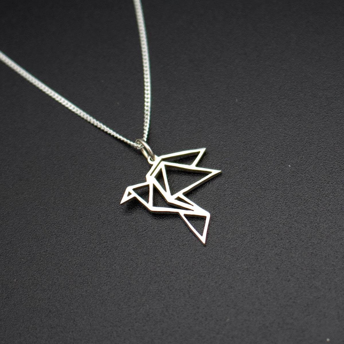 Sterling Silver Origami Bird Pendant with Chain