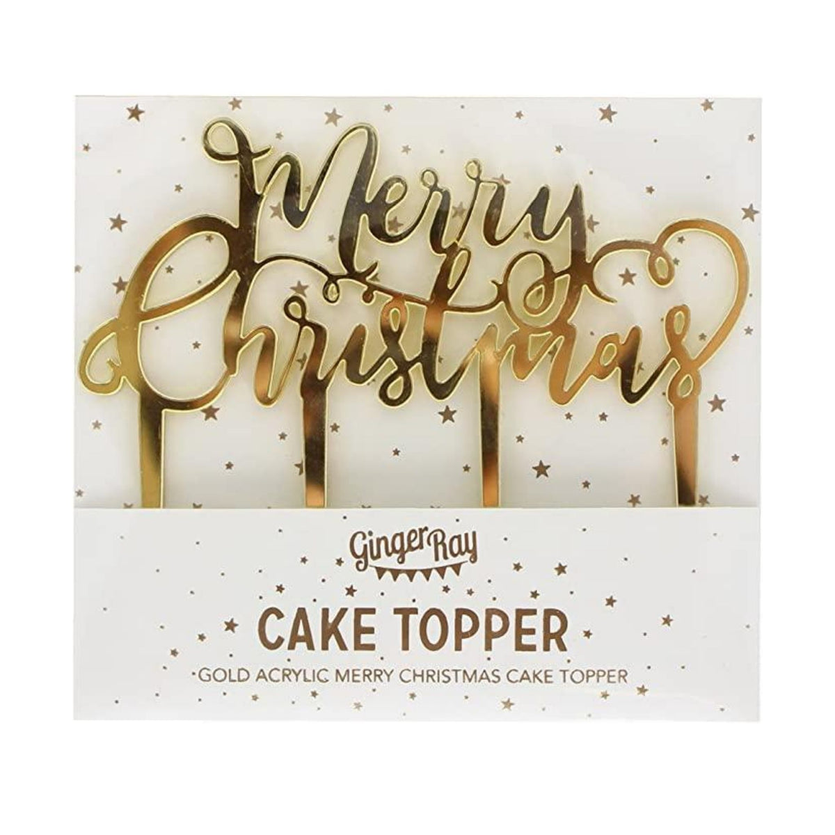 "Gold ""Merry Christmas"" Cake Topper"
