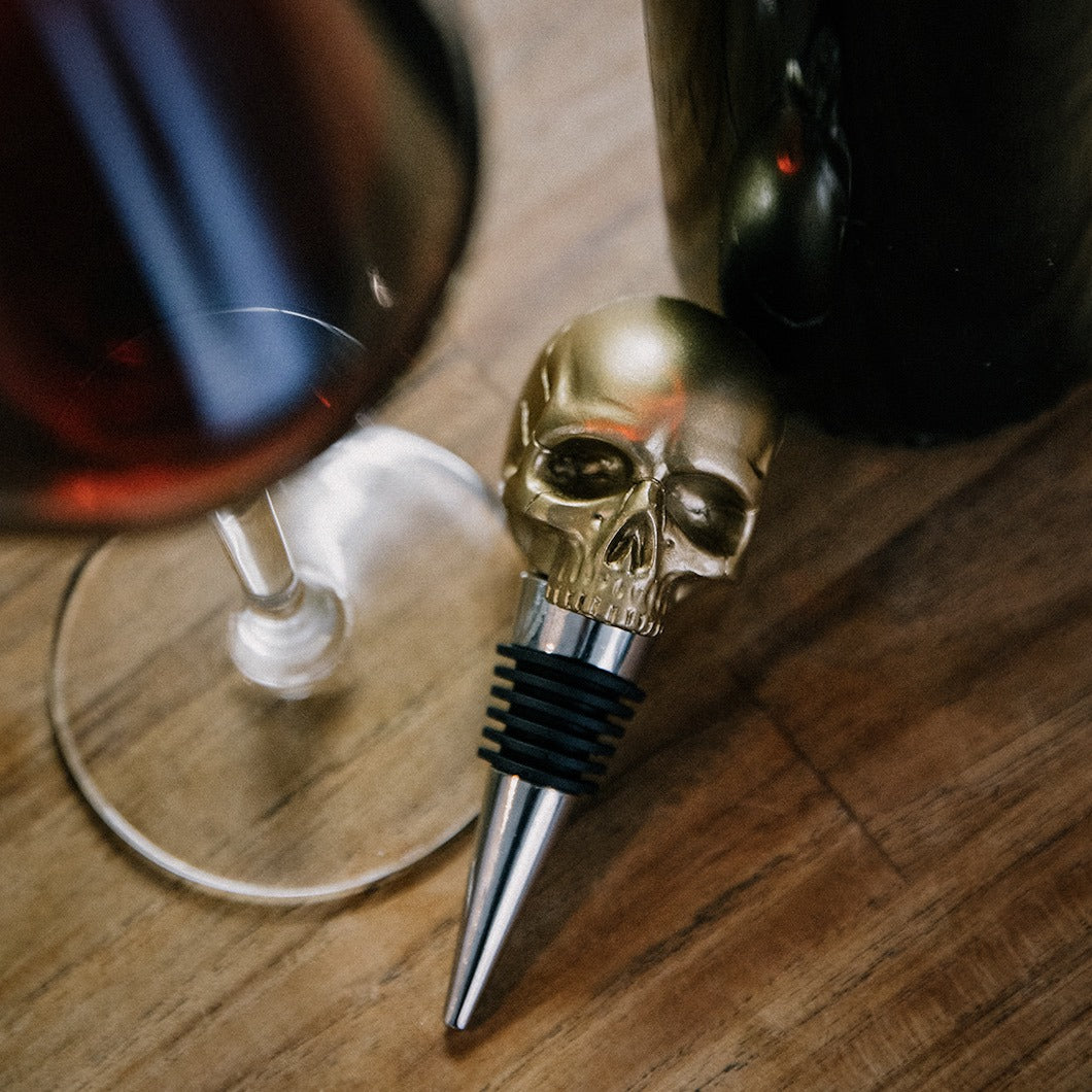 Death by Wine – Skull Bottle Stopper (Gold or Black)