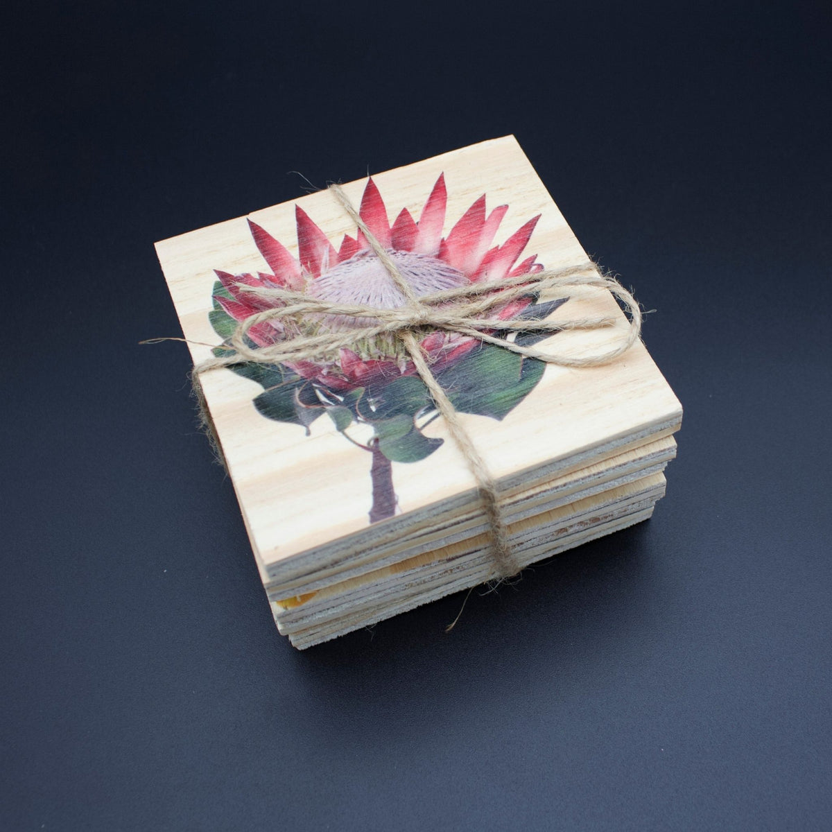 Floral Delights Wooden Coasters (natural wood finish)