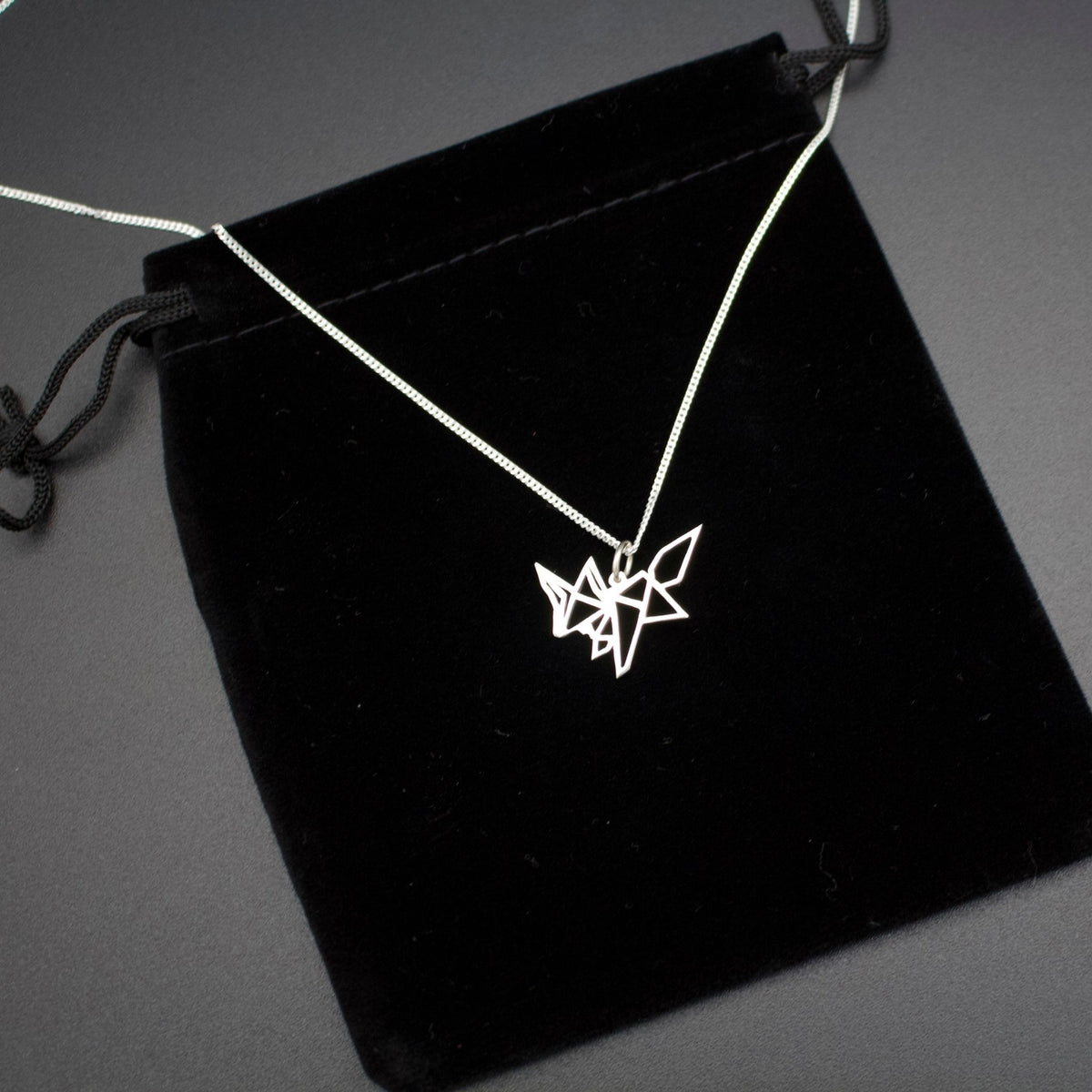 Sterling Silver Origami Fox Pendant with Chain