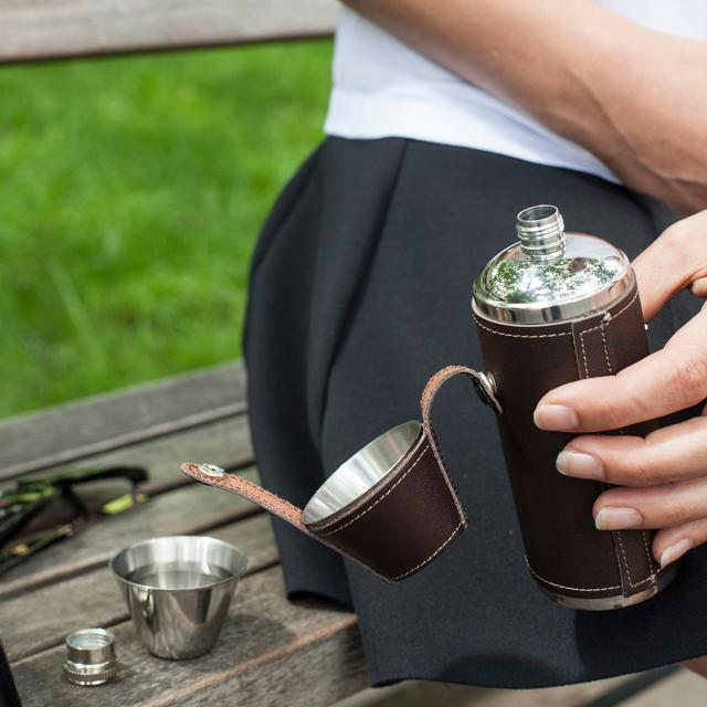 Leather Camping Flask and Shot Glass Set