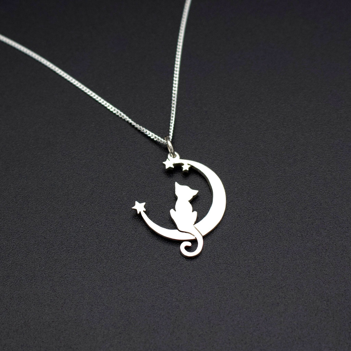 Sterling Silver Lunar Kitty Pendant with Chain