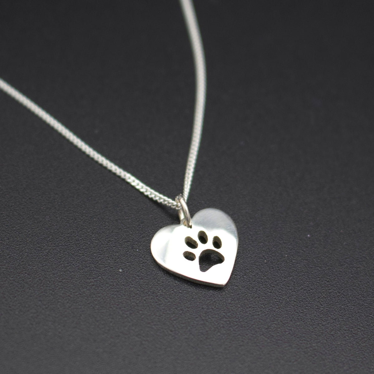 Sterling Silver Pawprint Heart Pendant with Chain