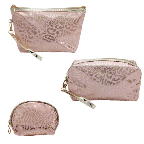 Pink Leopard Cosmetics Bags (assorted sizes)